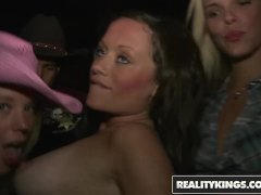 Reality Kings - Slutty Cowgirls party In the VIP , flashing and sucking coc