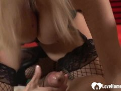 Two babes pleasure his big hard dick
