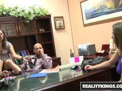 Reality Kings - Hot teen fucks her layer on his desk while GF watches
