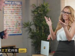 Slutty milf teacher Stacey Saran dominates younger student - Brazzers