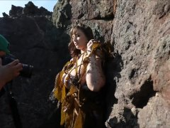 Lana Kendrick bts with her gigantic boobs getting muddy