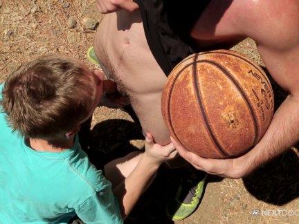 NextDoorTwink Basketball Court BJ And Fuck