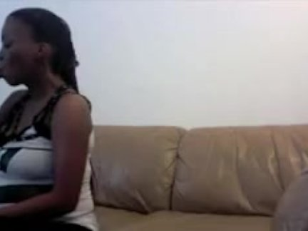 BLACK PREGNANT CHICK FUCKS AND SUCKS ON WEB CAM