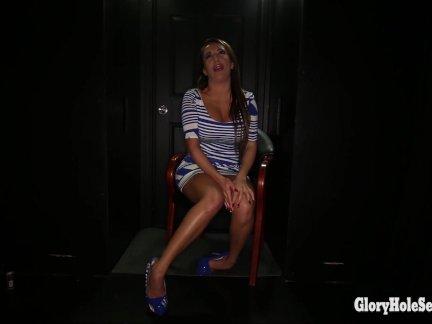 Big tit slut swallowing cum a gloryhole