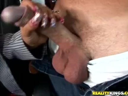 Secretary rubbing real big dick