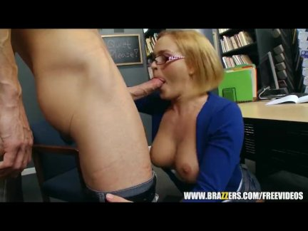 Krissy Lynn wants some cum on her glasses - brazzers