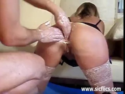 French wife double fist fucked in her asshole