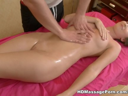 Girl all covered in oil gets fucked and facia