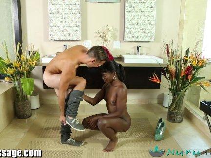 NuruMassage Ebony Babe Gives Erotic Massage