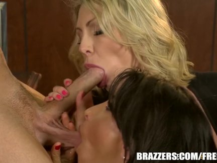 Stepmom and milf fuck young stud - Brazzers