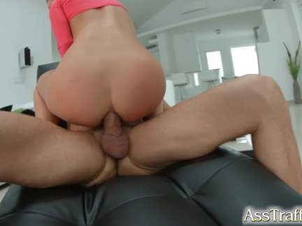 Asstraffic blonde toys herself during anal