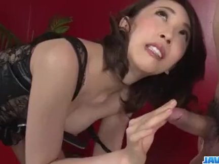 Aya Kisaki, wife in lingerie, blows a big dick