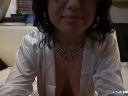 Busty milf enjoys a rough fuck on camera