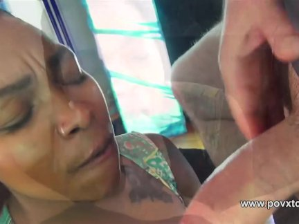 Ebony Nikki Ford fun with feet and oil