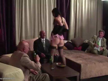 This Hot Teen Fucks And Sucks Three Dirty Old Men