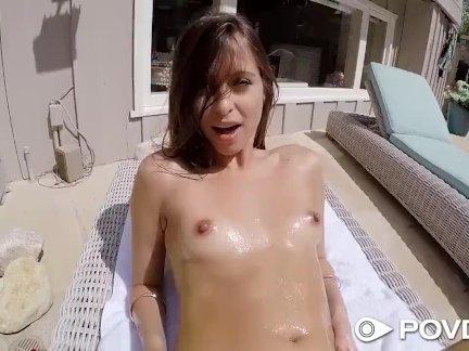 POVD Brunette Riley Reid backyard fuck by the pool