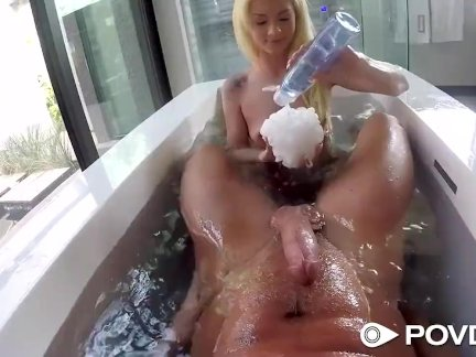 POVD After bath fuck and facial with petite blonde Elsa Jean