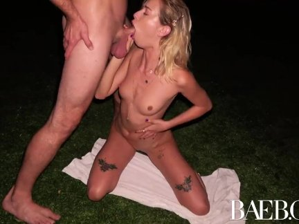 BAEB Outdoor fuck with blonde tiny breasted babe Haley Reed