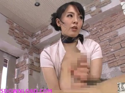 Asian with giant boobs tit fucking and massaging a guy