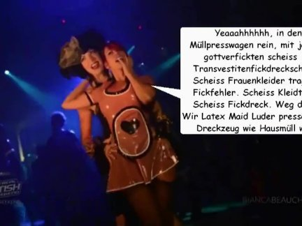 Latex Maid Girls pressen scheiss Transvestitenschwein mit Hausmüll tot