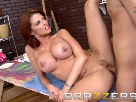 Brazzers - Dirty milf Joslyn James shows off her new fake tits
