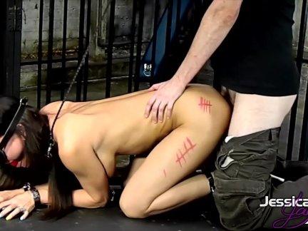 Porn queen Jessica Jaymes gets tied up & fucked hard, big boobs big booty