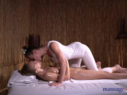 Massage Rooms Dirty blonde babe Aislin pussy licking lesbian ecstasy