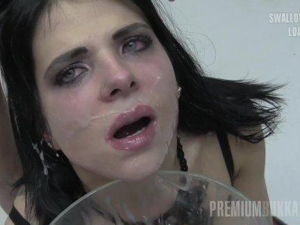 Premium Bukkake - Elya swallows 38 huge mouthful cumshots & got facialized