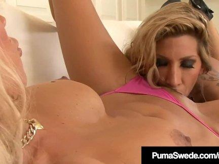 Tall Blondes Puma Swede & Kayla Carerra Lick Some Pussy!