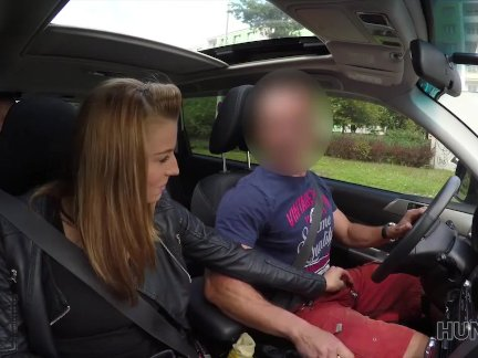 HUNT4K. Guy penetrates sexy girl in his car while cuckold is around