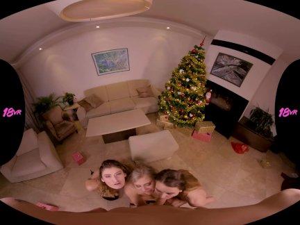 18VRcom Xmas Orgy With Lindsey Cruz Adele Unicorn & Candice Demelzza