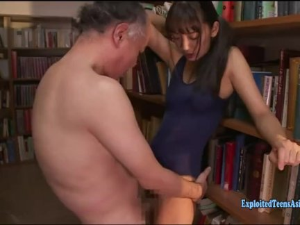 Jav Idol An Tsujimoto Ambushed In Library By Dirty Old Guy Fucks Her