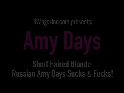 Short Haired Blonde Russian Amy Days Sucks & Fucks!