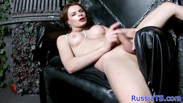 Glam russian tgirl playing with her cock - sex video
