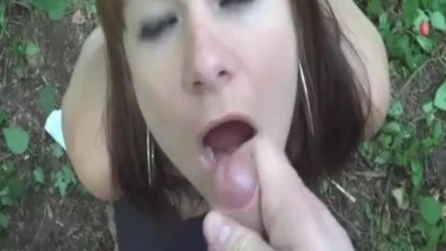 Fisting his slut GF in public