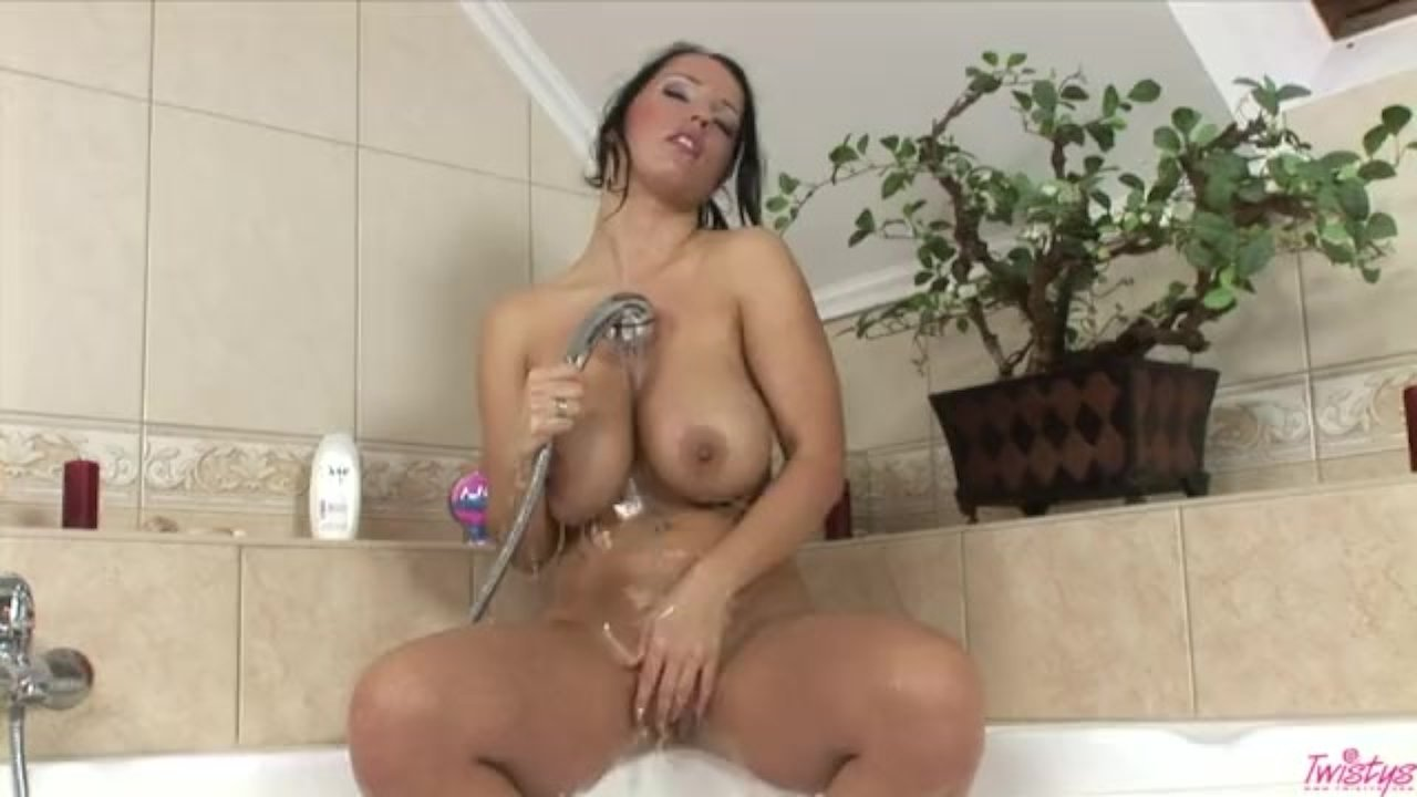 Laura showering her pussy