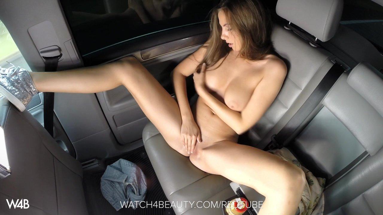 W4B Big Tits Brunette Getting Off In A Car