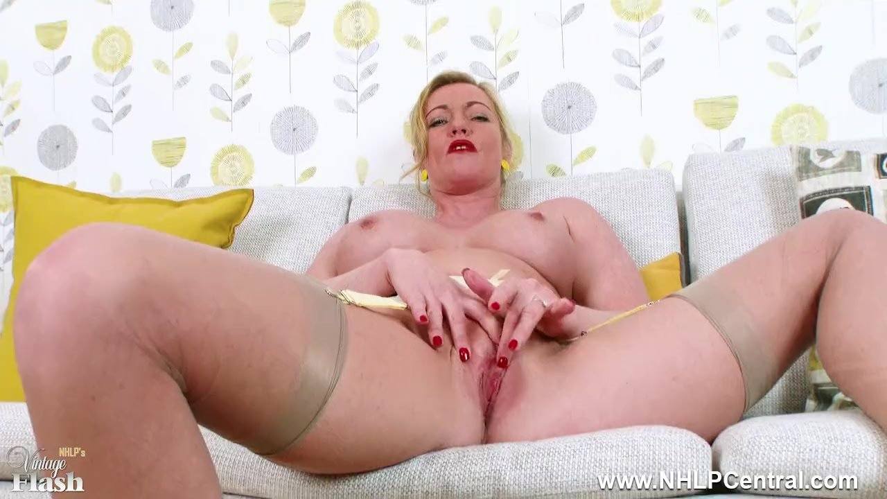 Blonde Milf Holly Kiss flashing wanking in sheer nylons retro suspenders