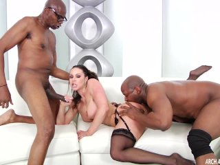 Hard interracial with two facials