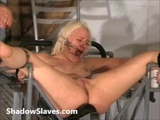 Two slaves bizarre pussy punishments and whip...