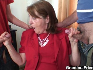 Threesome office fucking with granny...
