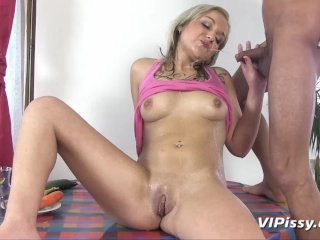 Extreme piss drinking for blonde babe who loves to suck cock