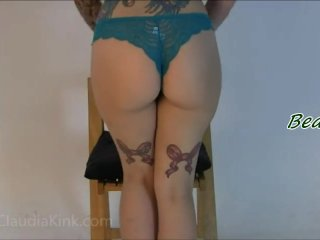 Claudia blows a lot of farts and wets her thong...