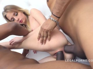 Goldie airtight anal DP with 3 massive black cock...