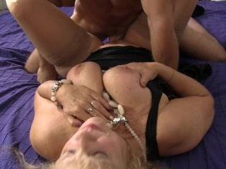 Omas - Mature blondie Beate G. gets her pussy pounded hard in threesome