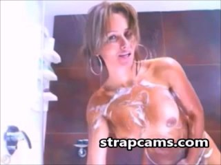 Milf latina with hot body teasing in bathroom...