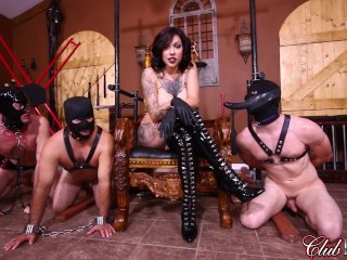 ClubDom Femdom Gets Off Then Ass Fucks Her Slaves...