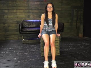 Leather bondage Helpless teen Evelyn has...