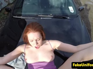 Ginger euro pounded from behind by dodgy cop