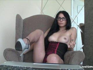 Amazing convivial genitalia of a nerdy solo girl